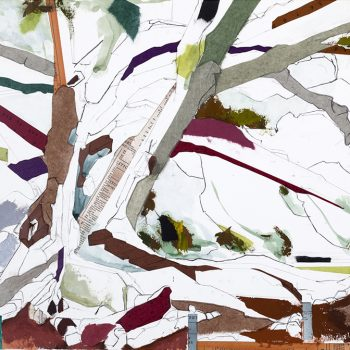mixed media tree painting contemporary landscape