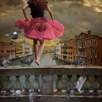 italy pigeons constructed photography A View from the Bridge Venice color photograph photo collageChambers