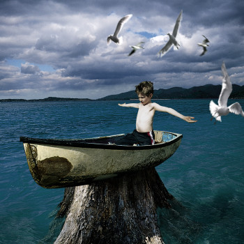 Aground magical realism imagination color photograph collage