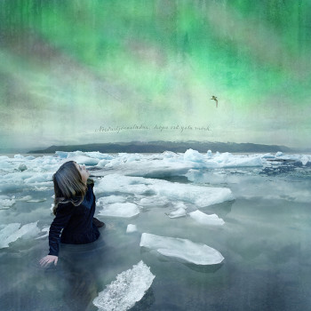 Aurora icebergs magic realism Iceland color photograph