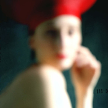unfocused face, red hat, gilman contemporary-ketcum fine art photography