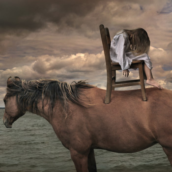 girl horse color photograph Tom Chambers prints for salephoto montage