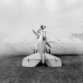 Ingrid on plane-modern vintage- staged photography- yale artist alum-