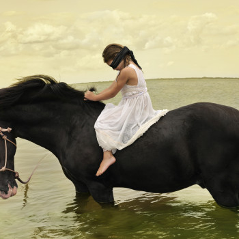Marwari Horse girl color photograph