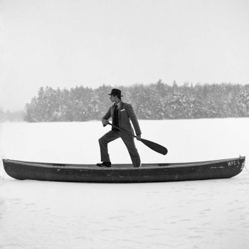 winter lake scene, humor, black and white photography