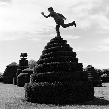 whimsy, dapper man on topiary, american photorgaphy