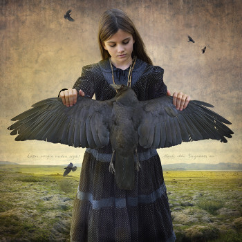 photomontage Iceland photography girl crow