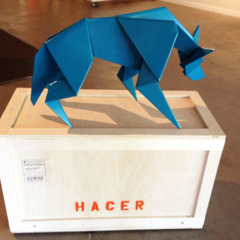 origami steel sculpture Hacer Coyote Sculpture