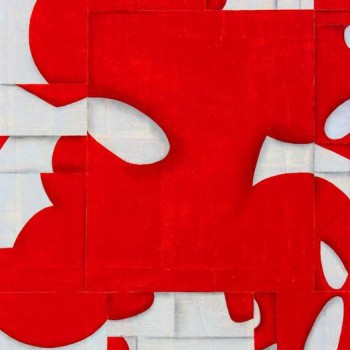 abstract art, broken down letters, red and white painting, ketchum art gallery, sun valley