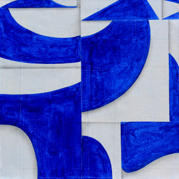 primary abstraction, blue and white,fluxus, gilman contemporary,