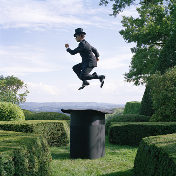 joyous photography, top hat, magritte, whimsy, Gilman Contemporary