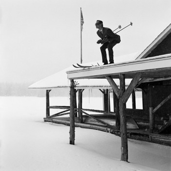 Rodney Smith, skiing photography, skis roof, humor