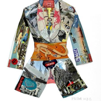 collage art london artists Peter Clark jacket recycled material magazines fashions