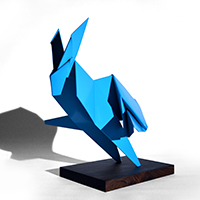 steele origami sculpture large scale sculputre contemporary pop