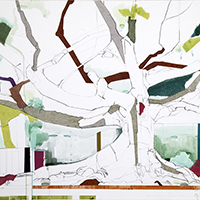 Jill Lear mixed media trees contemporary landscape