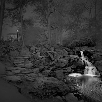 central park at night, silver toned gelatin print, craft of photography, photographic process, waterfall images massaia photographer new york