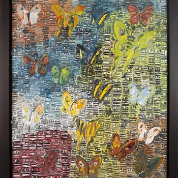 Hunt Slonem, butterfly paintings,textured