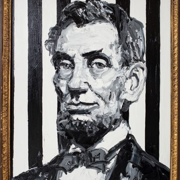 hunt slonem, abe lincoln, black and white painting