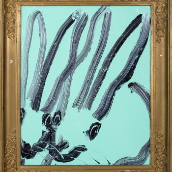 Slonem hunt, Gestural bunny, light blue bunny, vintage frame, thick oil paint, daily painter, year of the rabbit