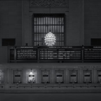 december 2018 exhibitions, last ticket window at grand central station, nyc wthout people, black and white photography