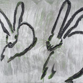hunt slonem bunnies, silver bunnies, neo-expressionist painting, buy hunt slonem art online