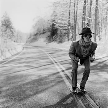 Rodney Smith, Lake Placid,skiier in street, rodney smith