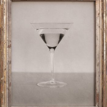 martini glass, gilded silver frame, art gallery in sun valley, december exhibition