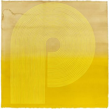art shaped liek a p, precision, yellow works on paper, sun valley art gallery, contemporary art gallery