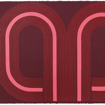 red and pink, bold lines and colors, kelly ording, graphic art, works on paper,