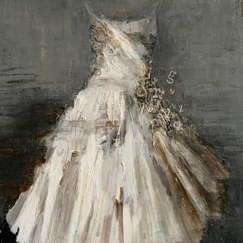 Laura Schiff Bean, floating dress painting, mixed media, loose paint, gestural