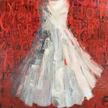 Laura schiff bean, red and white dress , loose brushstrokes