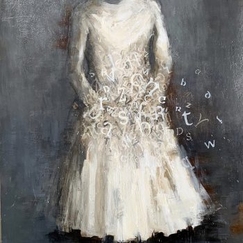 acrylic on panel painiting, dress, drips, loose brush strokes
