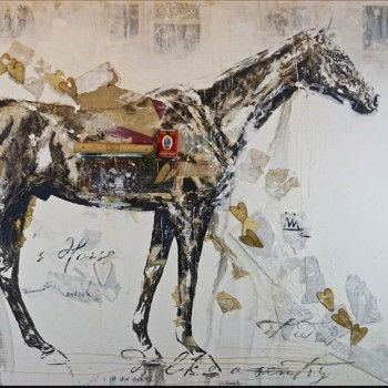 ashley collins, equine painting, painting with found objects, large scale horses