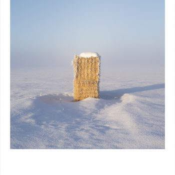 snowy landscape photography, color photography, haystacks