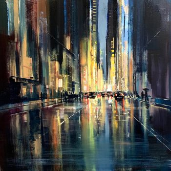 oil on canvas, painting by Craig Mooney, night scene, square paintings