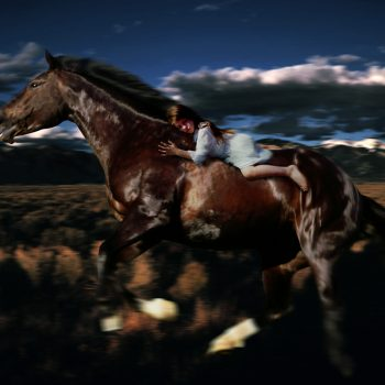 horse photography, night ride, magic realism,