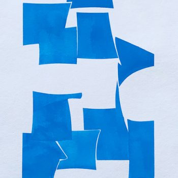 cerulean blue abstract painting on paper, joanne freeman