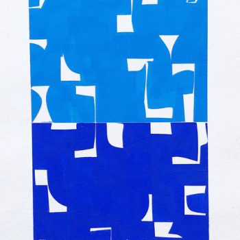 blue and white abstract work on paper